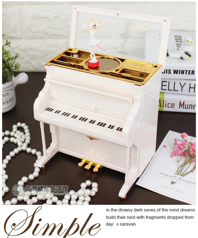 2018 New Fashion White Rotatable Piano Model Music Box By Great S Enterprises