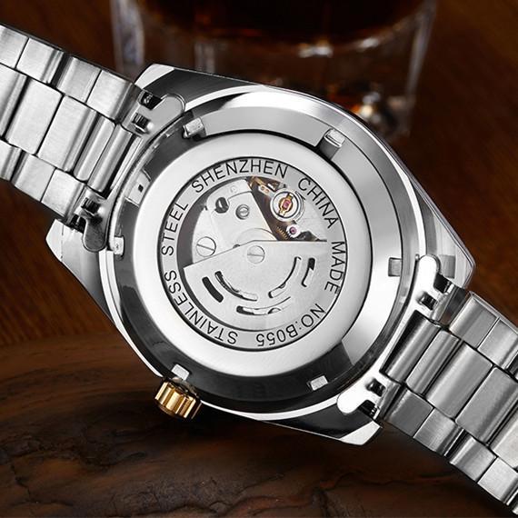 Produk Asli Jam Tangan pria Jam tangan mekanik Sepenuhnya Otomatis Mekanikal Jam tangan pria Tali Baja Kalender bisnis jam tangan pria Tahan Air Bercahaya