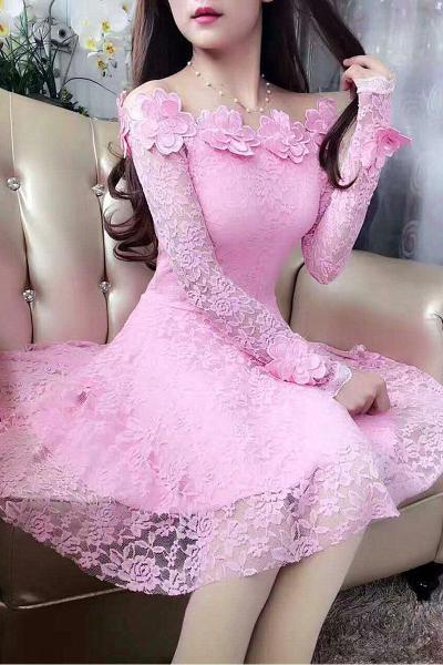 Đầu Thu Mẫu Mới Lập Thể Bông Hoa Áo Ngang Vai Ren Váy Công Chúa Nữ Ôm Body Tôn Dáng Đầm Đầm Dự Tiệc Dài Tay Thủy Triều