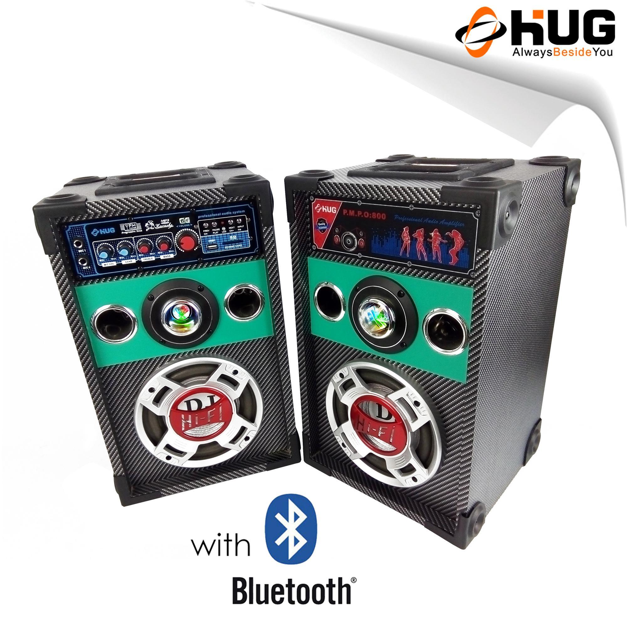 ... HUG Speaker with Built In Amplifier Mic Ports for Karaoke Bluetooth FM