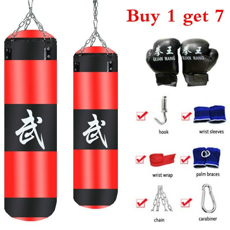 100 cm 7 Pcs/set Training Fitness MMA Boxing Punching Bag Empty Sport Kick Sandbag