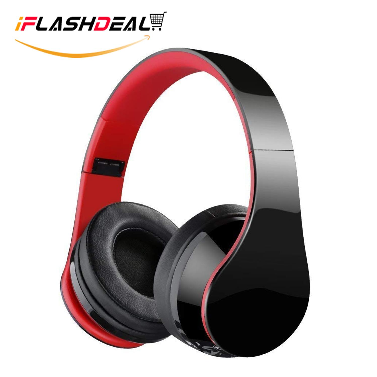 Iflashdeal Nirkabel Bluetooth Headphone Foldable Headset Kebisingan Isolasi Atas Telinga Earphone Dengan Mic, (merah) By Iflashdeal.