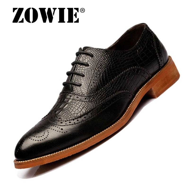 ZOWIE 2018 New Classic Men Carved Cow LeatherKatad Shoes Men Brogues Oxfords Business Shoes Handmade Cow hide Men Casual Shoes - intl