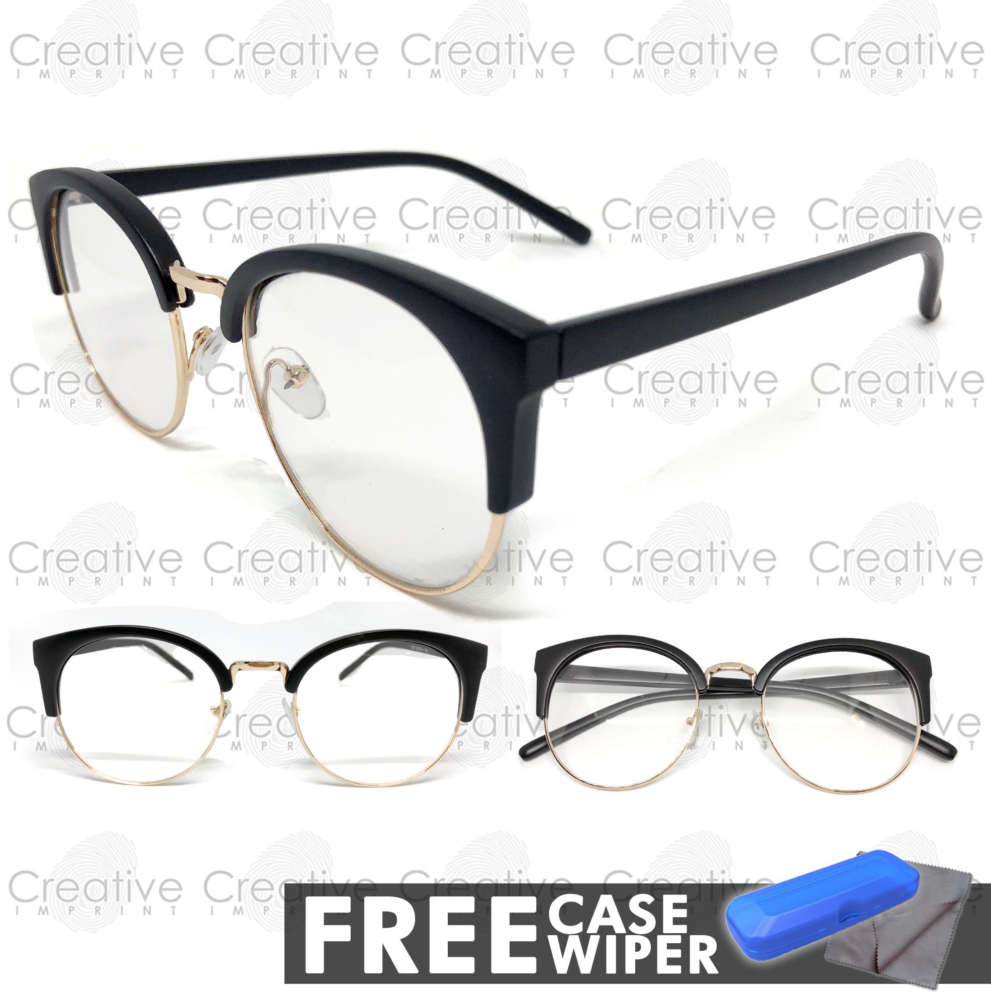 ae356dc3beb1 Creative Imprint Eyeglasses Replaceable Lens (Clubmaster 02 Black Gold  Matte) Premium High Quality Specs Metal