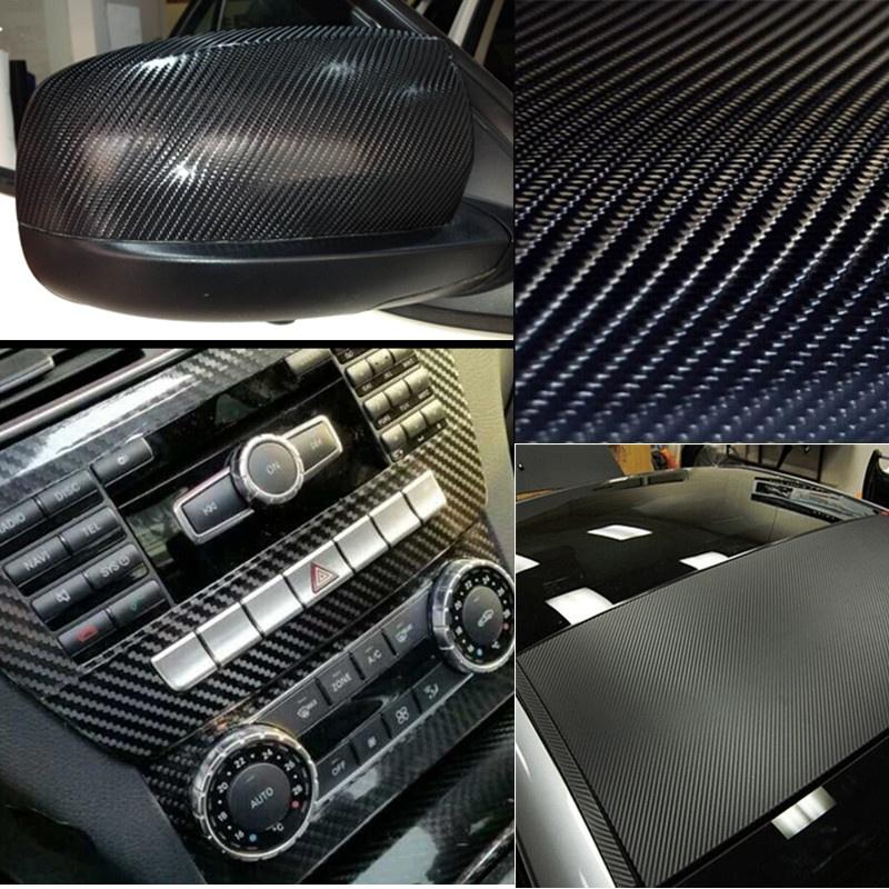 20 X60 Diy 4d Black Gloss Carbon Fiber Vinyl Wrap Car Sticker