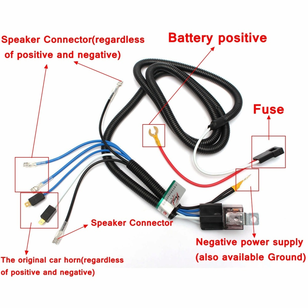 Car Horn Relay Wiring Harness Kit For Grille Mount Blast Tone Horns Vehicle Size Chart Image