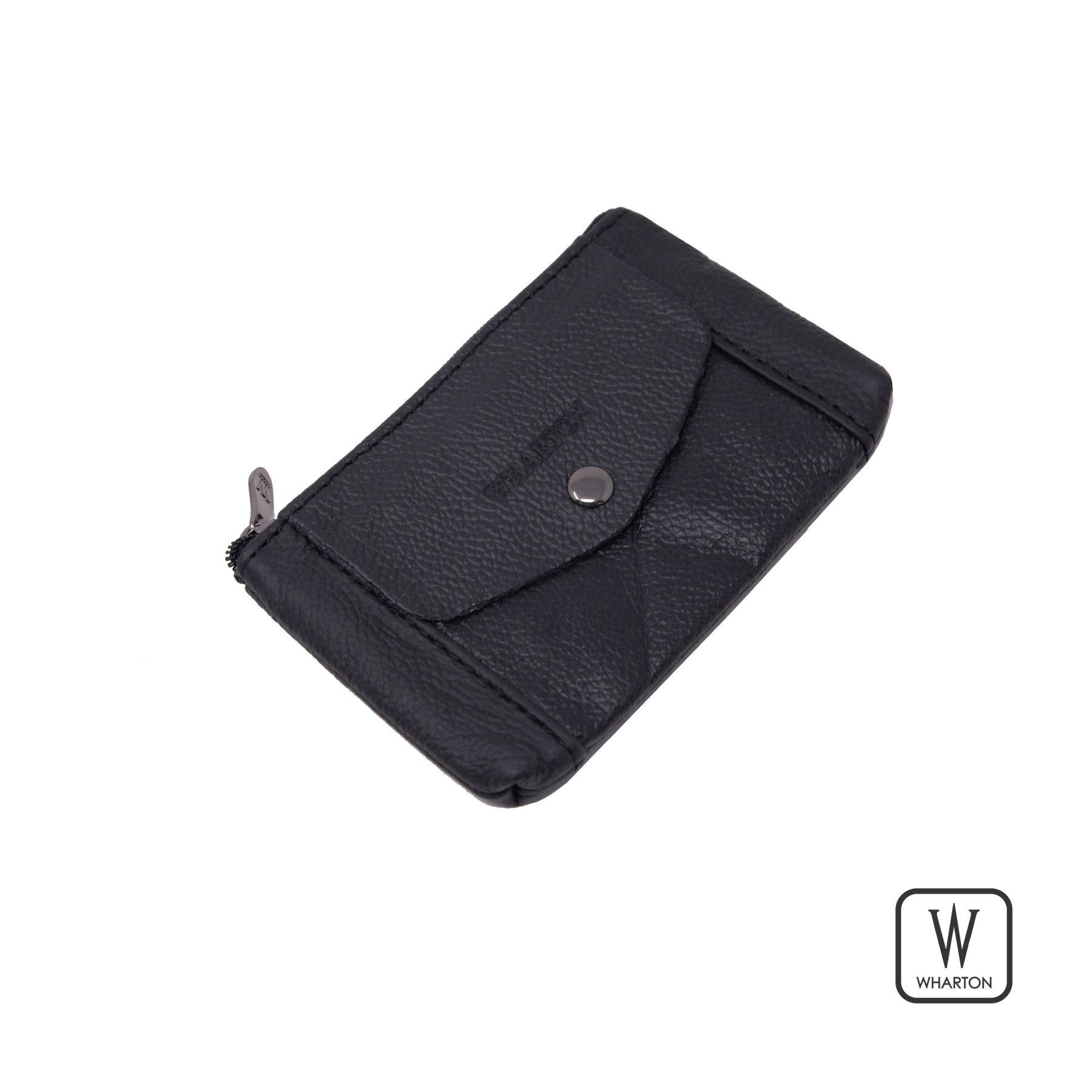Wharton Leather Zipper Coin Purse, Coin Pouch Change Holder for Men, Black
