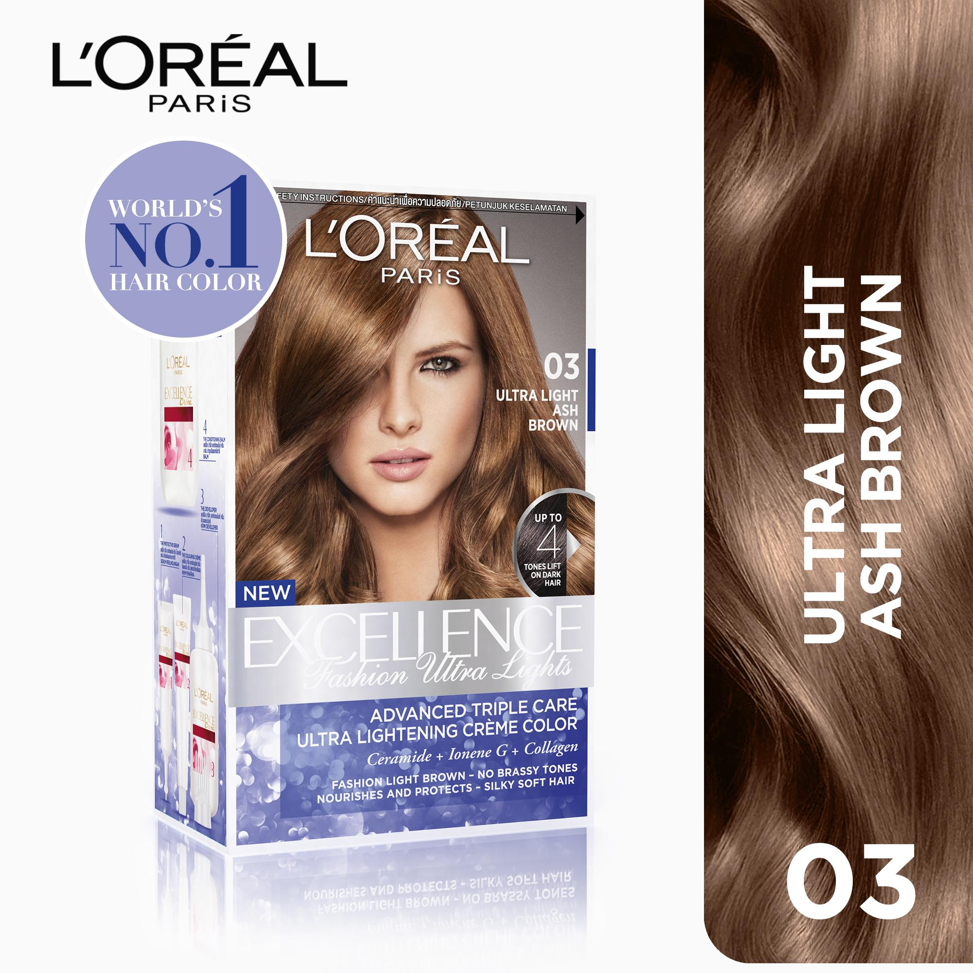 Hair color brands hair dye on sale prices set reviews in excellence fashion ultra lights 03 ash brown worlds no1 by l geenschuldenfo Image collections