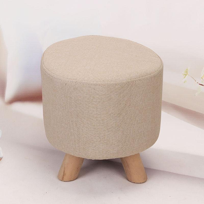 Sofa Stool Footstool Fabric Solid Wood Stool Small Bench Adult Household Circle Square Teapoy Table Stool Short Stool