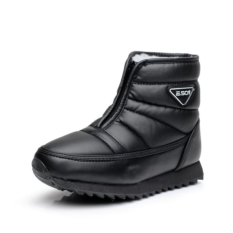 Musim dingin Tambah beludru Schick Sepatu kulit teplek Mama Anti Selip Tahan Air Penghangat orang tua