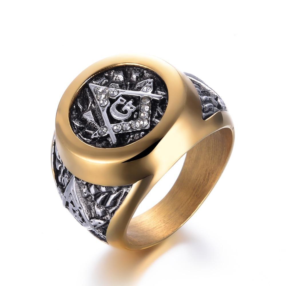 e15b63a2d1807 Gold Color Masonic Stainless Steel Masonic Ring for Men Freemason Symbol G  Templar Freemasonry Men Rings