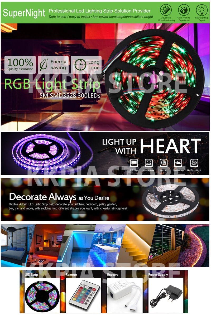 led strip light led decor Red Blue Green + 24keys Remote Control + with 12V  2A Power Adapter Supply