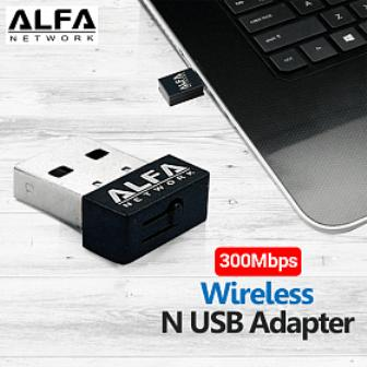 ALFA NETWORK 300Mbps WIRELESS ADAPTER-BLACK-