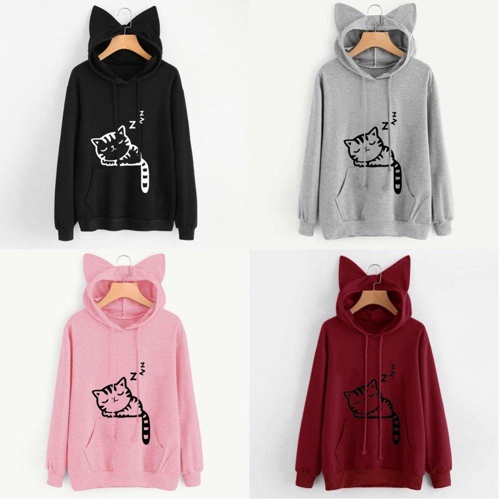 19b1bd2f23b New Cute Womens Cat Ear Girls Hoodie Sweatshirt Hooded Coat Tops ...