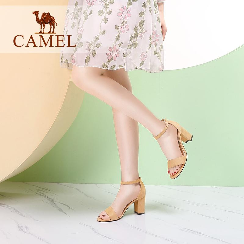 184962853505b Camel 2018 new style of words button up thick heel vogue of high-heeled  shoes