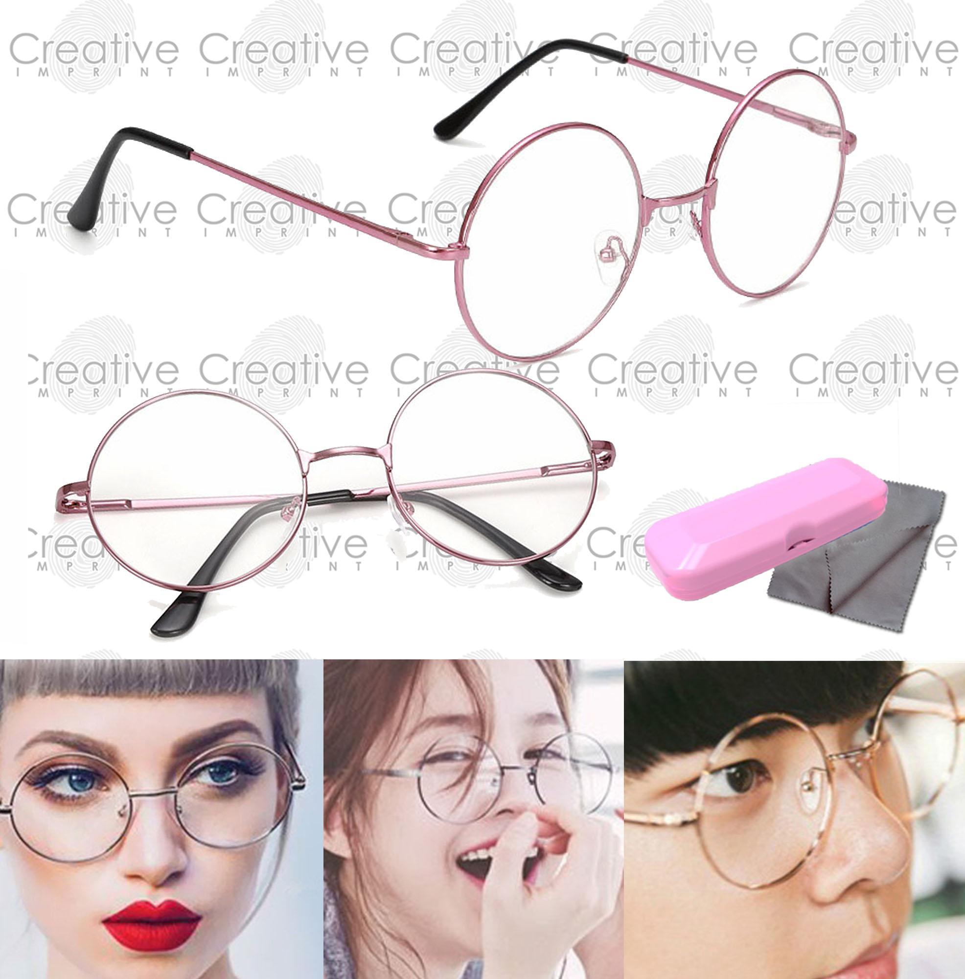 cb3bb9e5a Creative Imprint Retro Round Clear Specs (Pink Frame) Flat Lens Eyeglass  Trendy Harry Potter