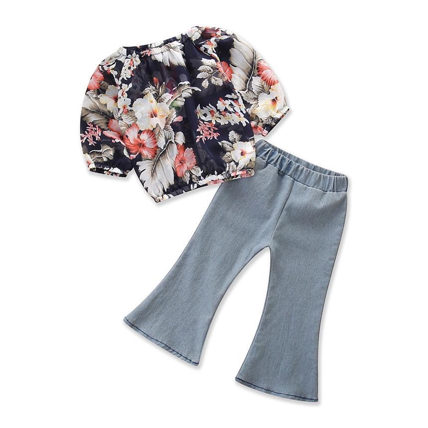 Fashion Bayi Gadis Baju Lengan Panjang Cetak Motif Bunga Atasan + Jeans Berkobar Celana Warna Murni