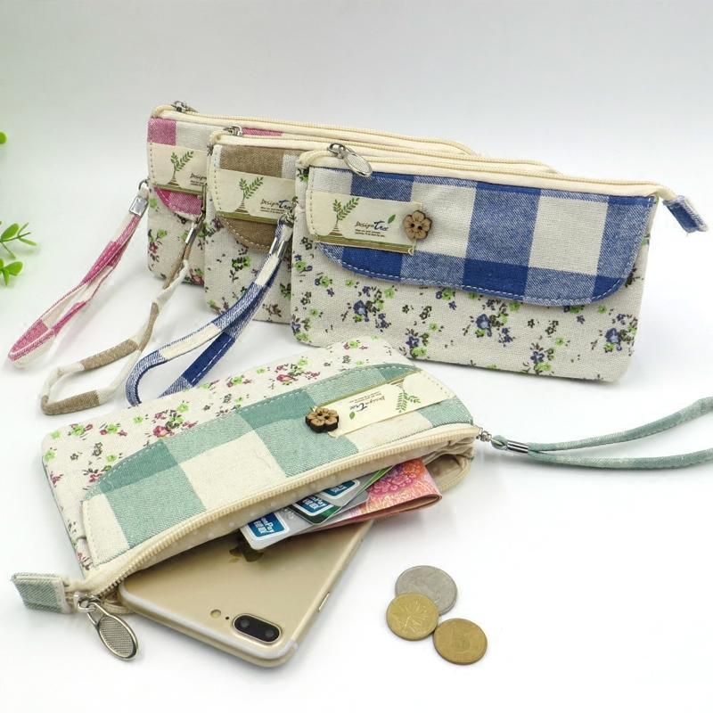 Kain Dompet wanita model panjang minimalis kain linen tas tangan Sederhana dan Elegan HP Dompet Uang ...
