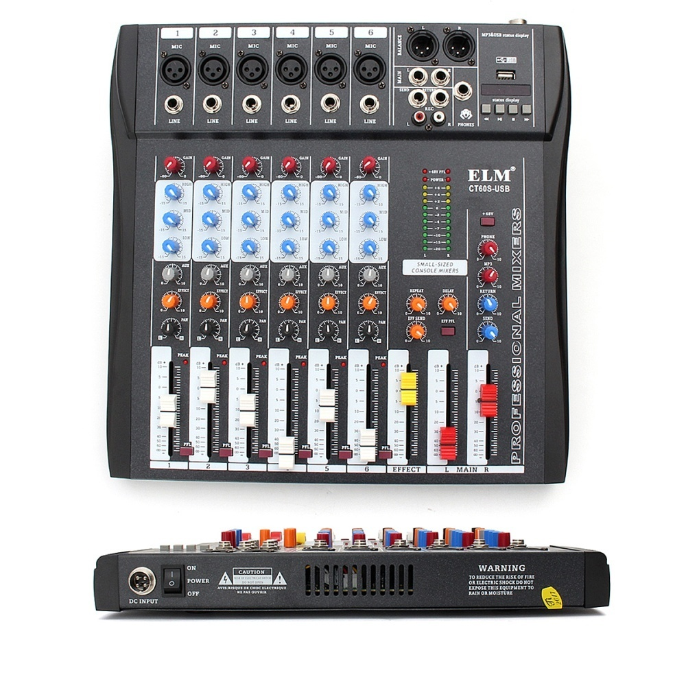 Elm Ct 60s 6 Channel Professional Live Studio Audio Mixer Usb Mixing Product Details Of Console Intl