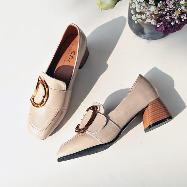 Đế Thô Giày Nữ 2020 Xuân Mẫu Mới Lớp Da Bóng Anh Giày Nữ Gót Vừa Đầu Vuông Giày Phiên Bản Hàn Quốc Giầy Nữ giá rẻ