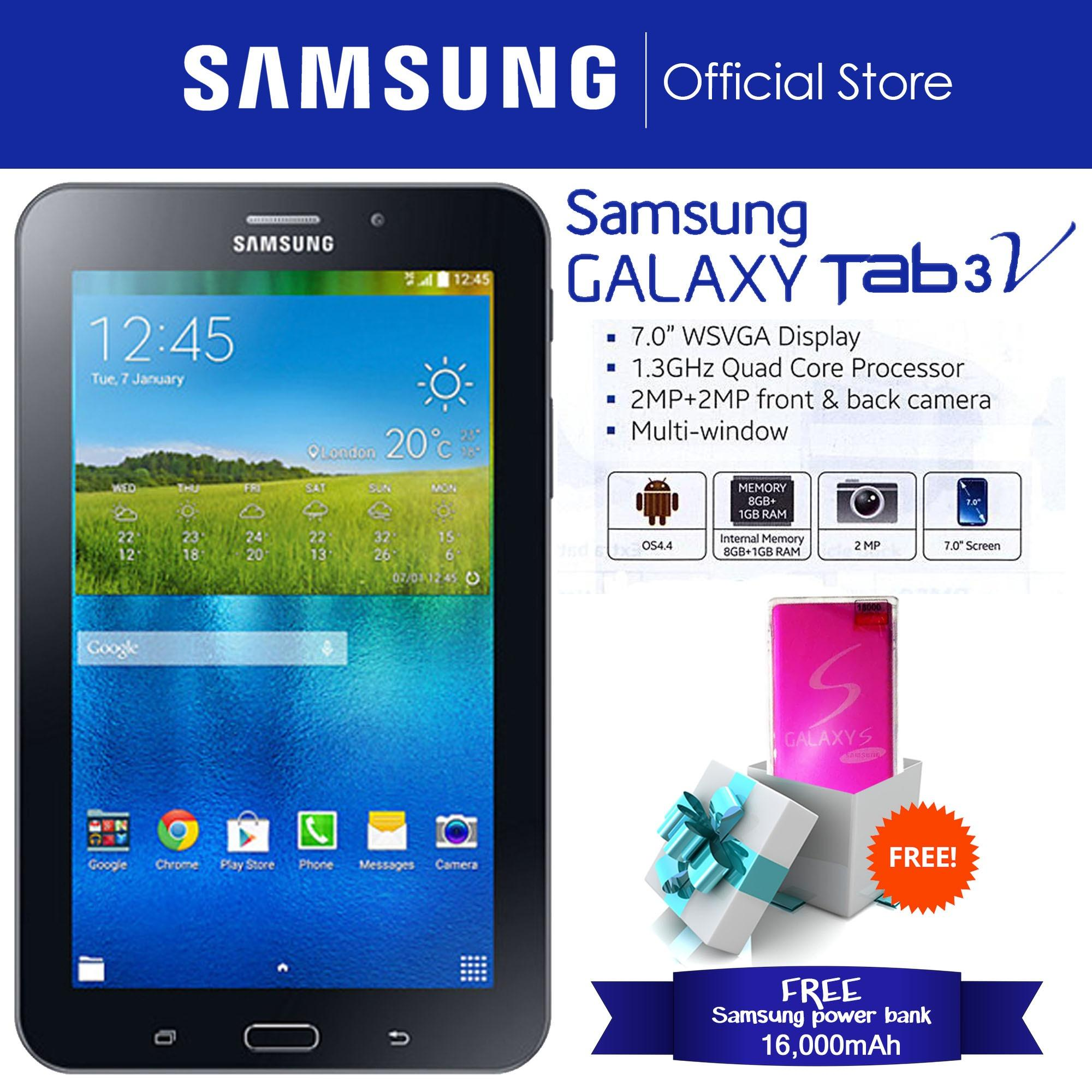 "Samsung Galaxy Tab 3V 8GB 7 0"" Ebony Black Free mAh Samsung Powerbank"