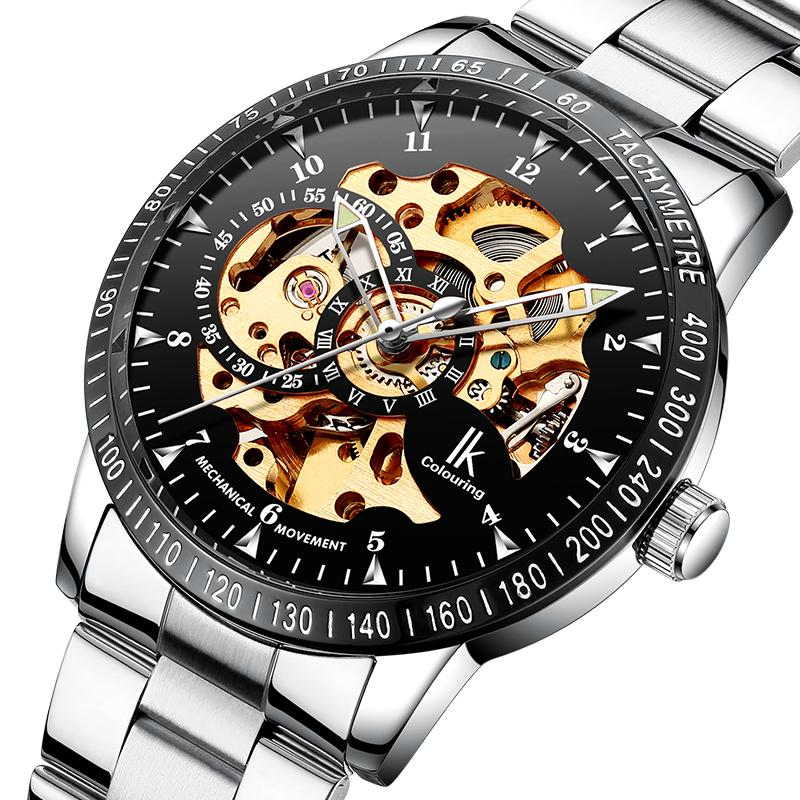 Apache Jam Tangan pria berongga Transparan Tourbillon Otomatis Jam tangan mekanik Pria jaringan gemetar suara Model Sama mesin jam