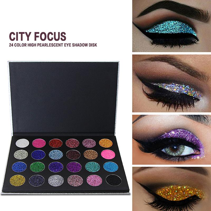 City Focus 24 Colors Glitter Eyeshadow Pallete Diamond Glitter Foiled Make Up Philippines