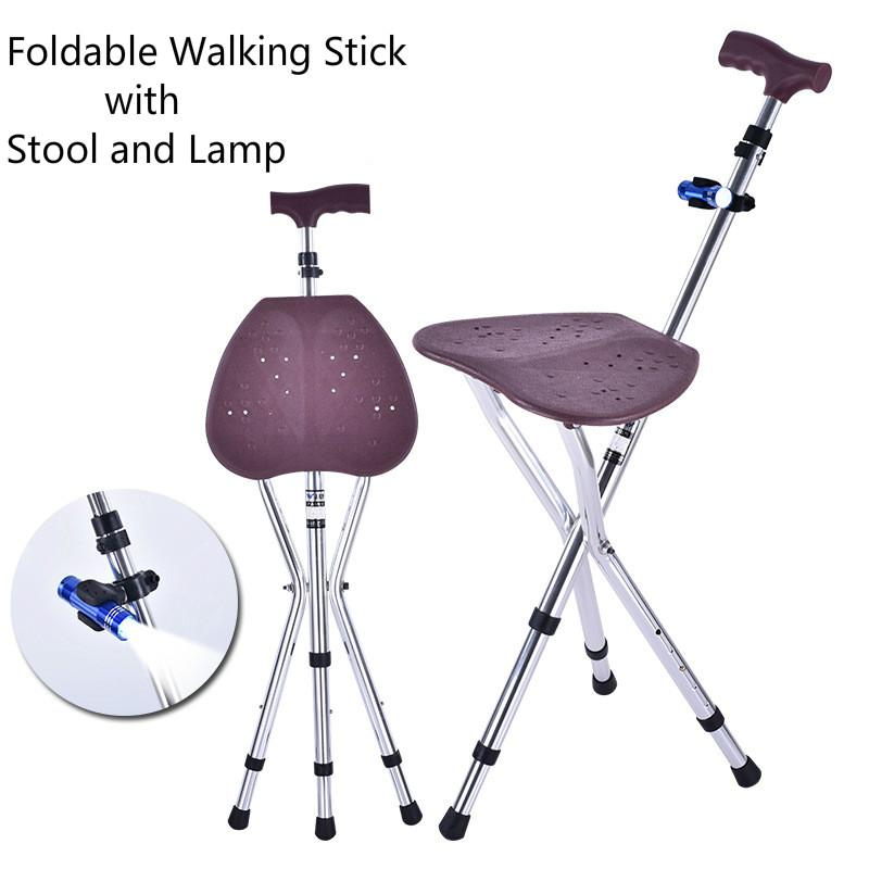 Aluminum Alloy Cane Stool Leisure Casual Hiking Mountaineering With Stool Seat Crutch Walking Stick Travel Walker Aid for the Aged Old People Adjustable