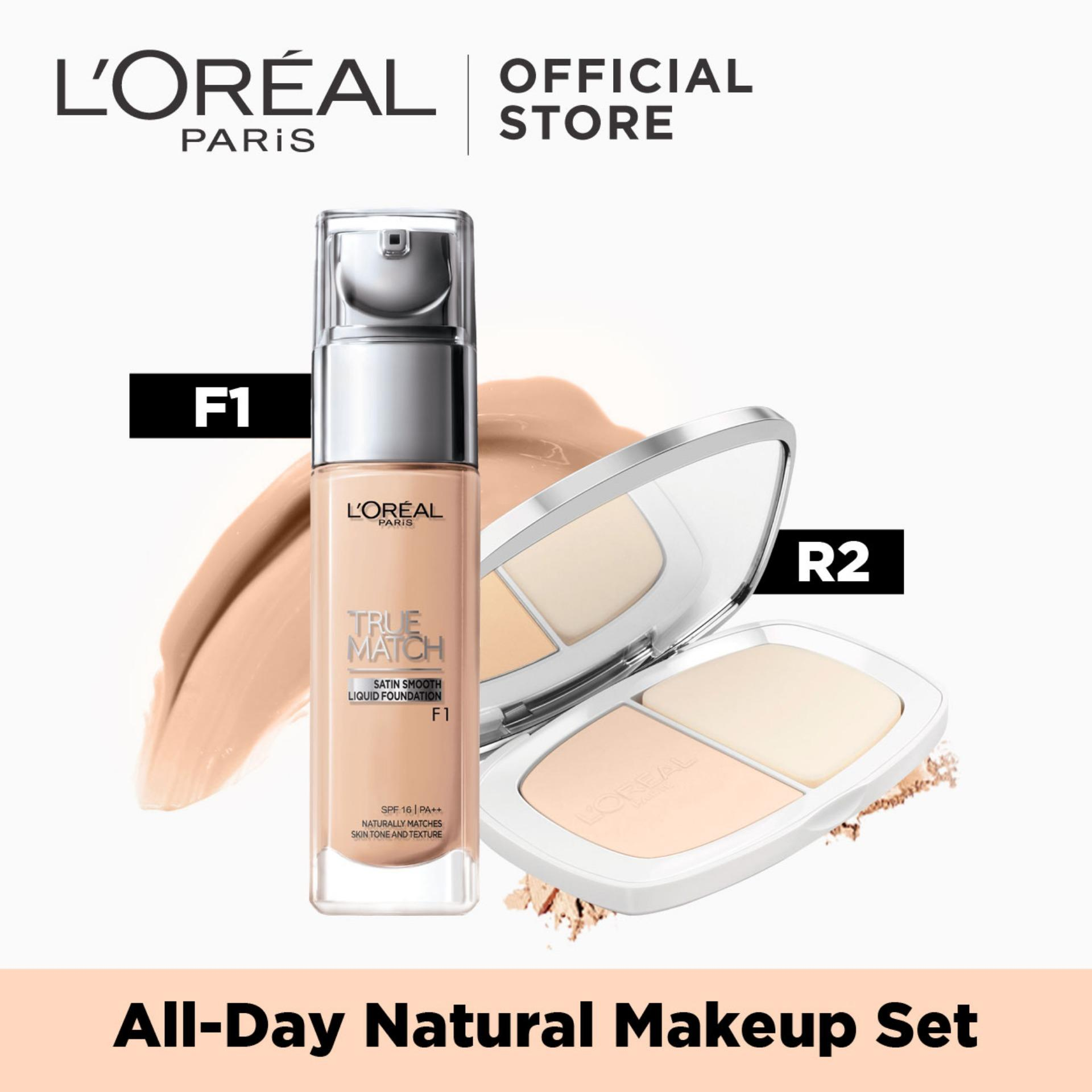 All Day Natural Set: True Match Liquid Foundation F1 & Powder R2 by LOréal Paris Philippines