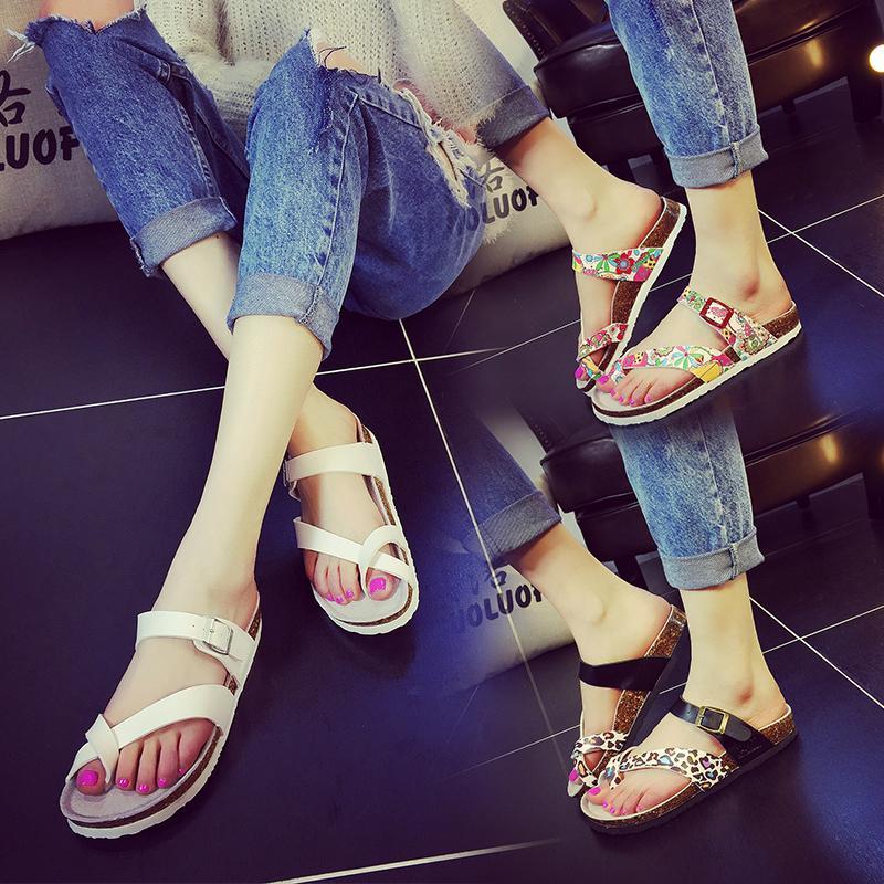 Detail Gambar Guoluofei Gaya Korea Gabus sendal adem musim panas perempuan Tutup jari kaki ukuran besar Sandal pantai Anti Selip menyeret sandal jepit ...
