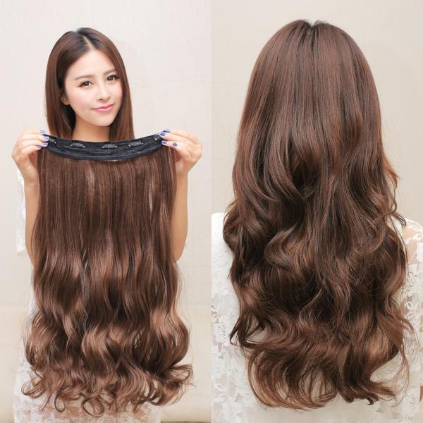 Tóc Dài Bộ tóc giả lớn lượn sóng Tóc Giả Bộ Tóc tàng hình tóc dài mảnh Nối Dài Clip Tổng Hợp Phần Lông Dài 60cm 24 inch Chịu Nhiệt
