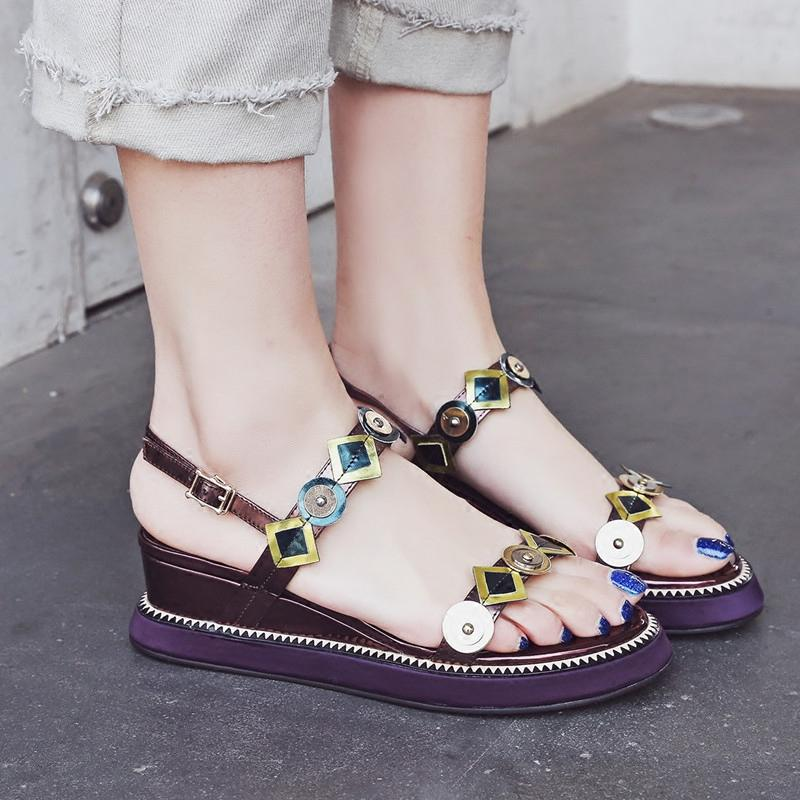 9b1a787c410f Bohemian sandals female the summer revive old customs flat bottom medium  heel 2018 new style of