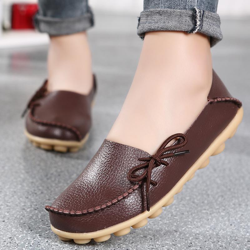 2018 Tahun Kulit Asli Perempuan Sepatu Trendi Mulut Dangkal Pijakan Empuk Ibu Anti Selip Sepatu Wanita