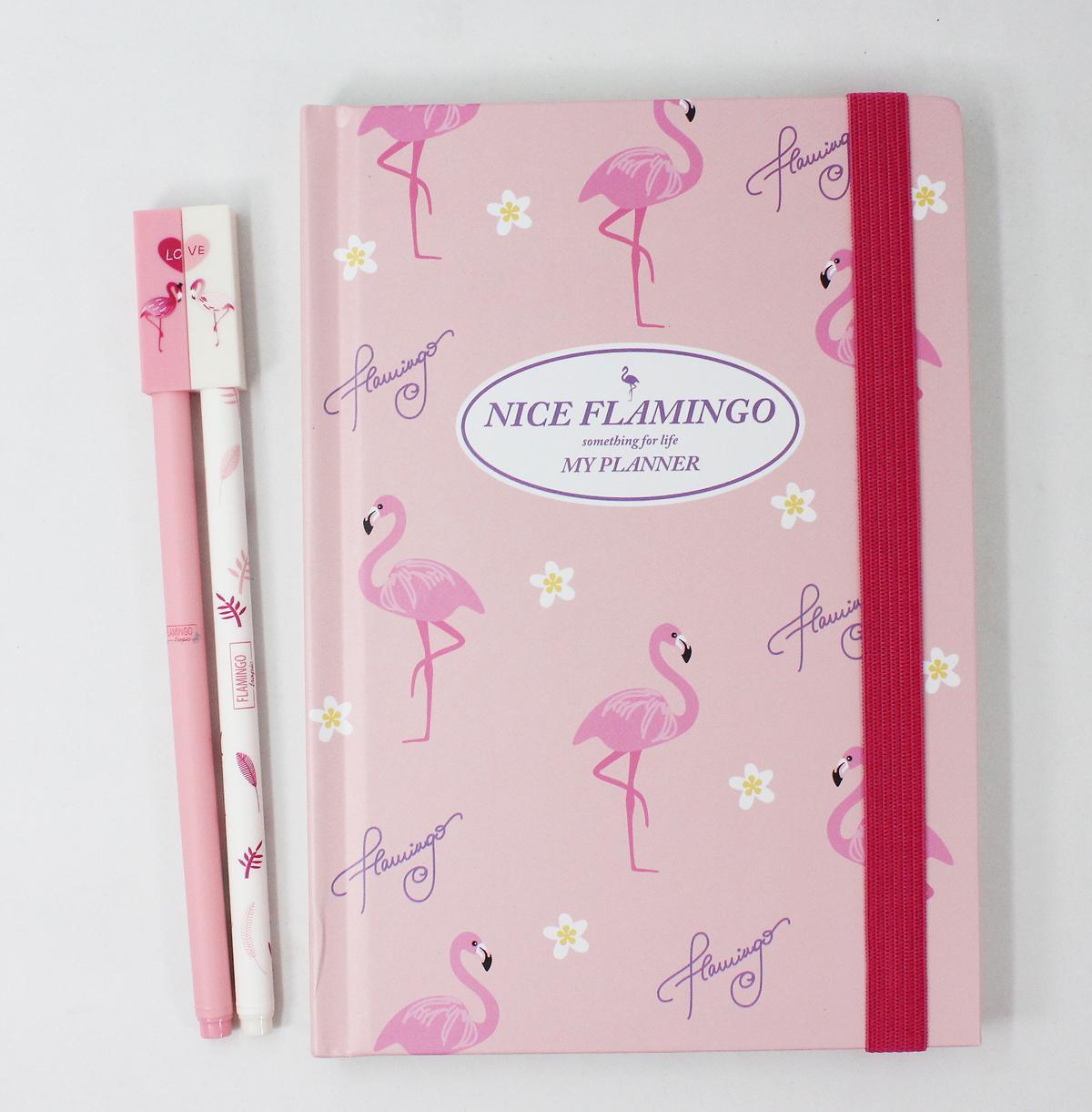 Flamingo Planner With 2 Pcs Gel Pen