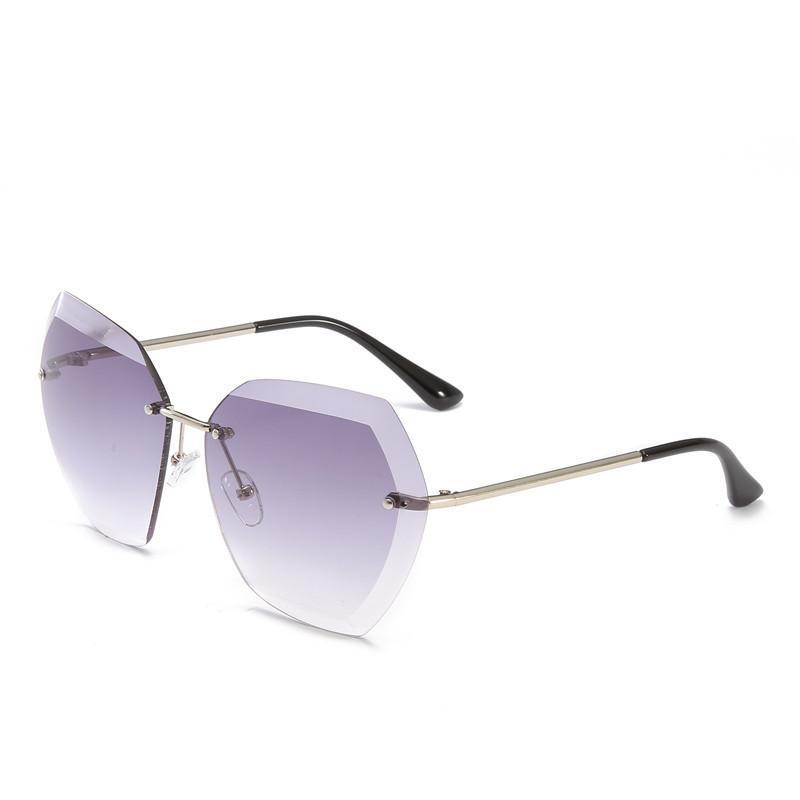 Kacamata untuk Wanita Square Berlian Tanpa Bingkai Cutting Lensa Merek Desainer Fashion Nuansa Kacamata Hitam