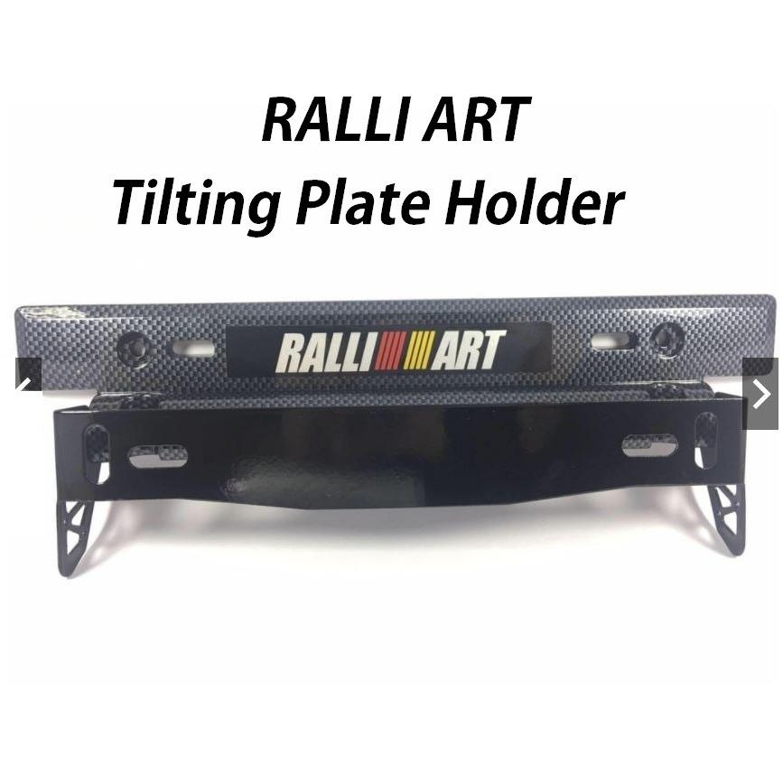 Car RALLI ART Tilting Plate Holder Carbon Universal Free Bolt And Nuts