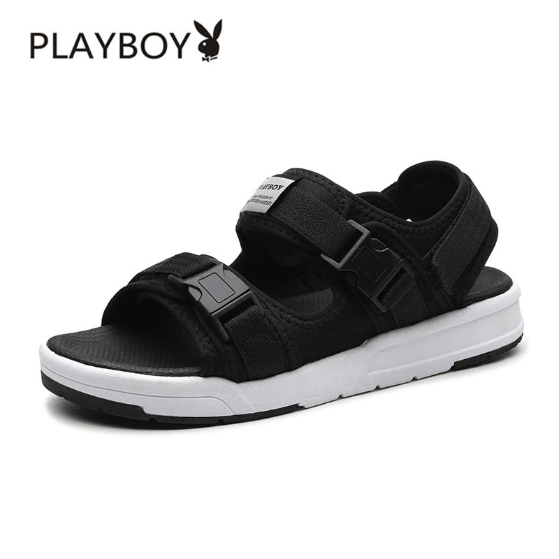 PLAYBOY Sandal Summer Musim Panas Sepatu Pria Kasual Tren Baru (Hitam)