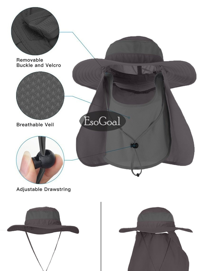 4acbc81047ba0 Specifications of EsoGoal Summer Sun Hat Protection Caps Flap 360°Outdoor  Fishing Hat With Removable Neck Face Flap Cover