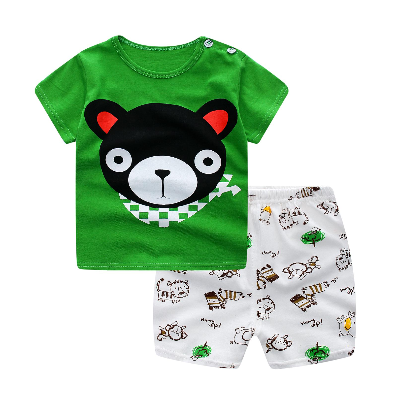 baby boy clothes cotton baby boy clothing sets cartoon short-sleeved shirt+pants infant