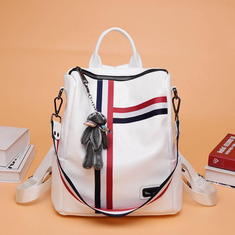 3 Color Ando Design 2018 New Cow Leather Cowhide Genuine Backpack Womens Japan Korea Leisure Travel Bags School Style Travelling Backpacks For Women Girls (white,black,charcoal) By Your Warehouse.