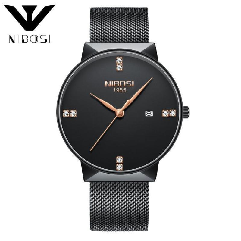Nibosi 2323 Luxury Diamonds Alloy Mesh Band Unisex Quartz Wristwatches (Black Band-Black) Malaysia