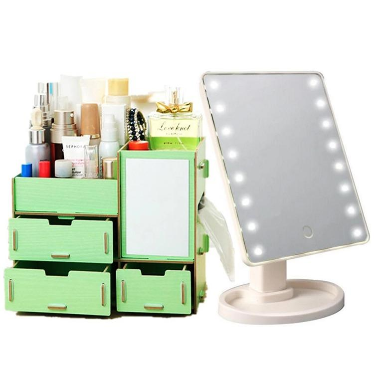 Adventurers Wooden Cosmetic Make Up Jewelry Box Storage Organizer w/ Mirror and 3 Drawers WITH LED Vanity Makeup Mirror with Lights Table Lamp & Cosmetic Mirror White Philippines