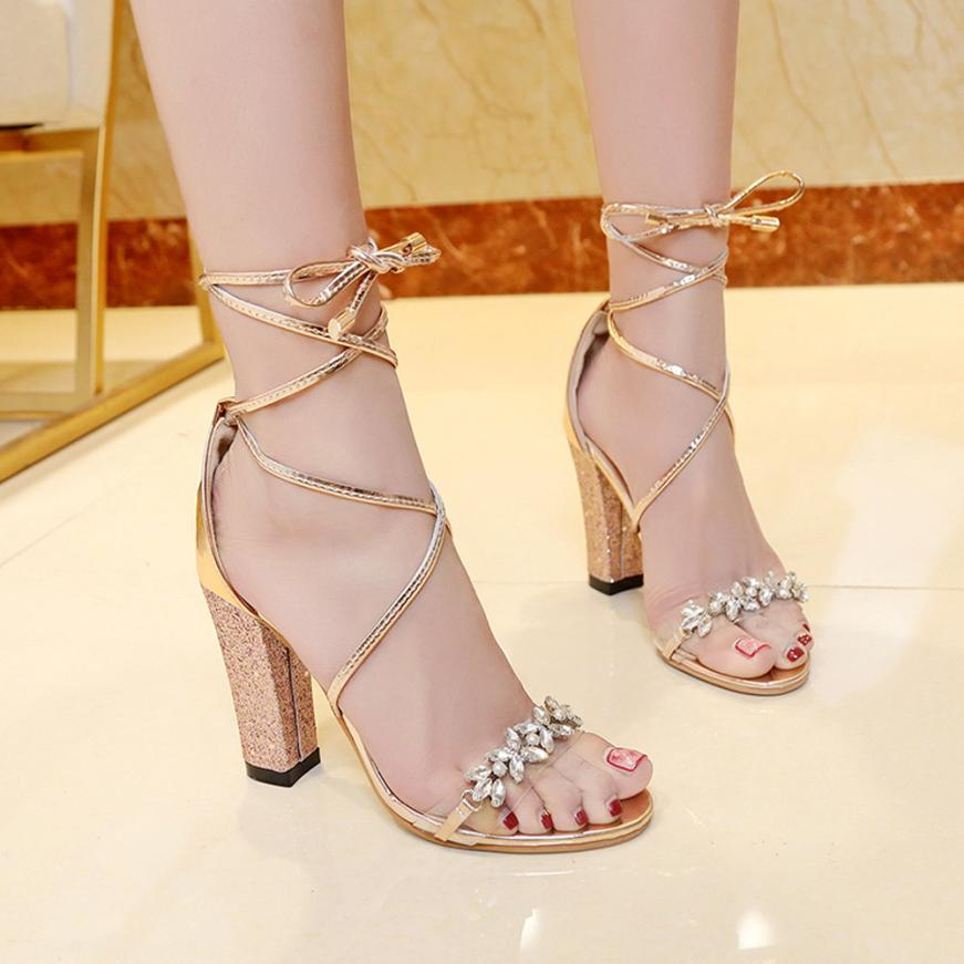7250f55e5ae 2018 Women Heeled Sandals Bandage Rhinestone Ankle Strap Pumps Super High  Heels 10.5 CM Square Heels