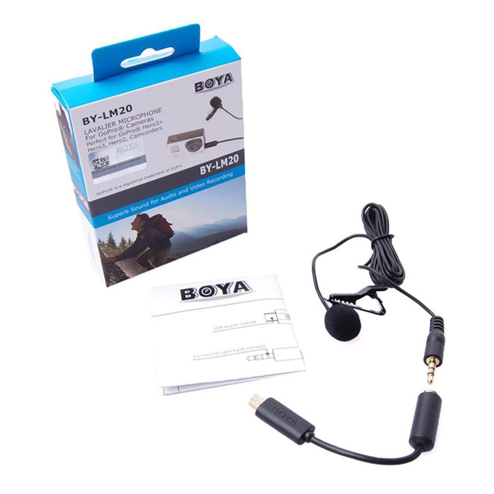 Boya By-Lm20 Lavalier Clip-On Mic Microphone Omni Directional Condenser Microphone For Gopro Hero 5/4/3 & Camcorders Dslr By Global Top Selling.