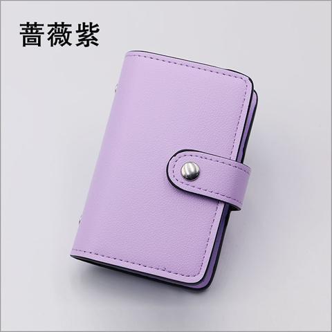 Dompet Kartu Muat Banyak Kartu Kapasitas Besar Versi Korea (Rose ungu)