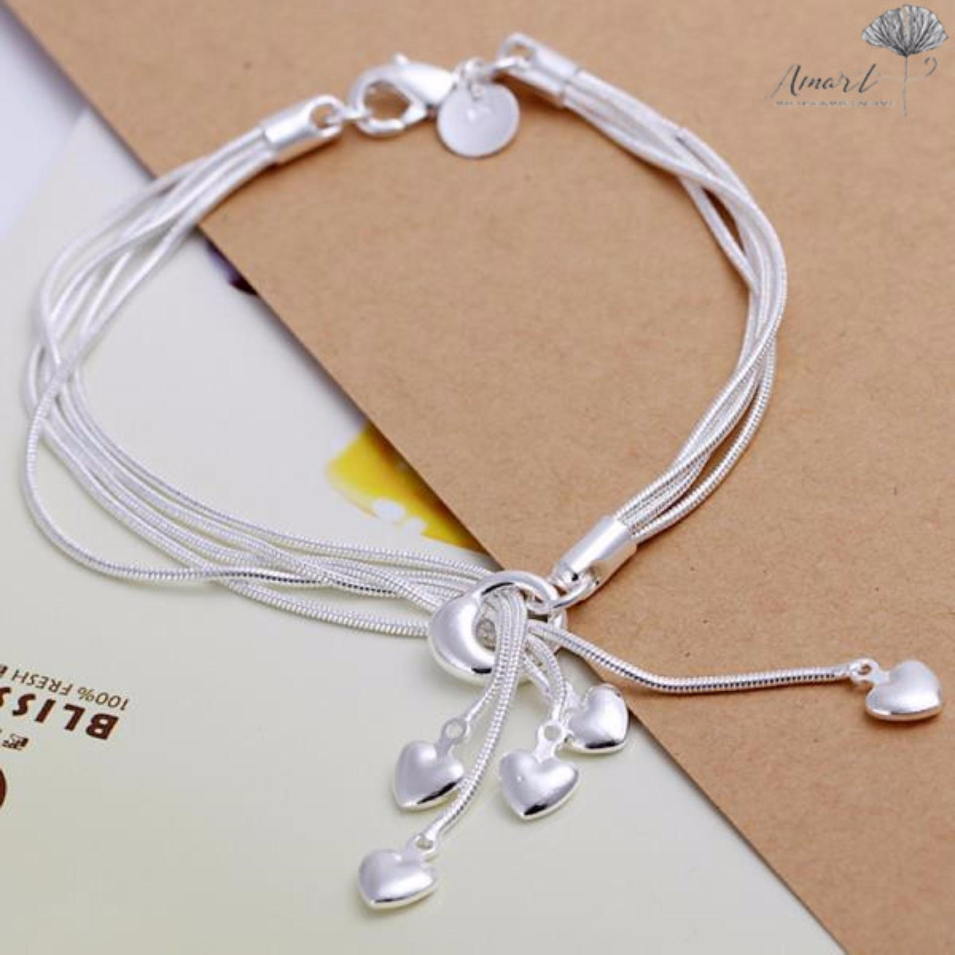 Amart Sterling Silver Charm TaiJi 5 Heart Pendant Chain Bracelet (Silver) - Intl