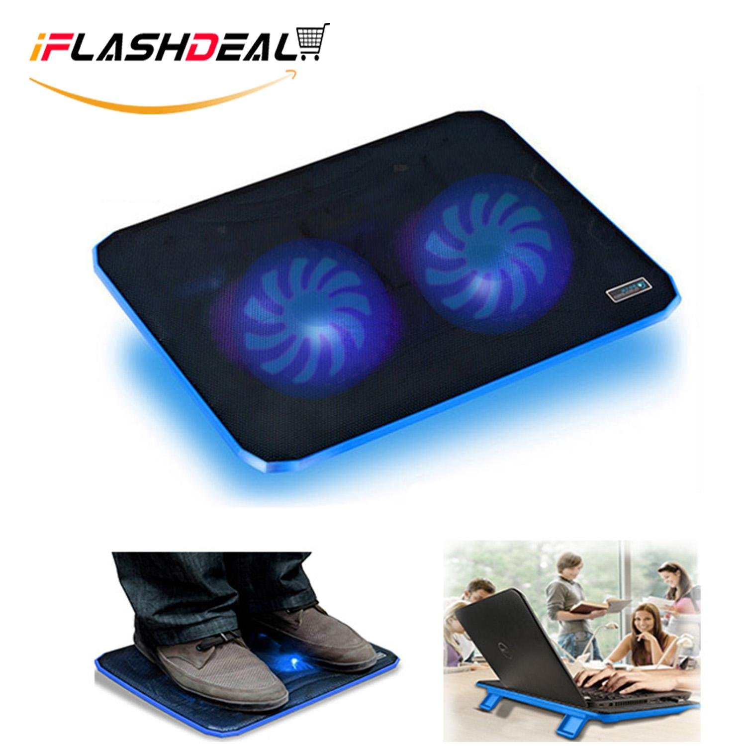 iFlashDeal USB Laptop Cooling Pad, Slim Portable Laptop Cooler Lightweight Notebook Mat with 2 Heavy Duty Fans, Powered with LED Lights for 10 - 15 Notebook Computer