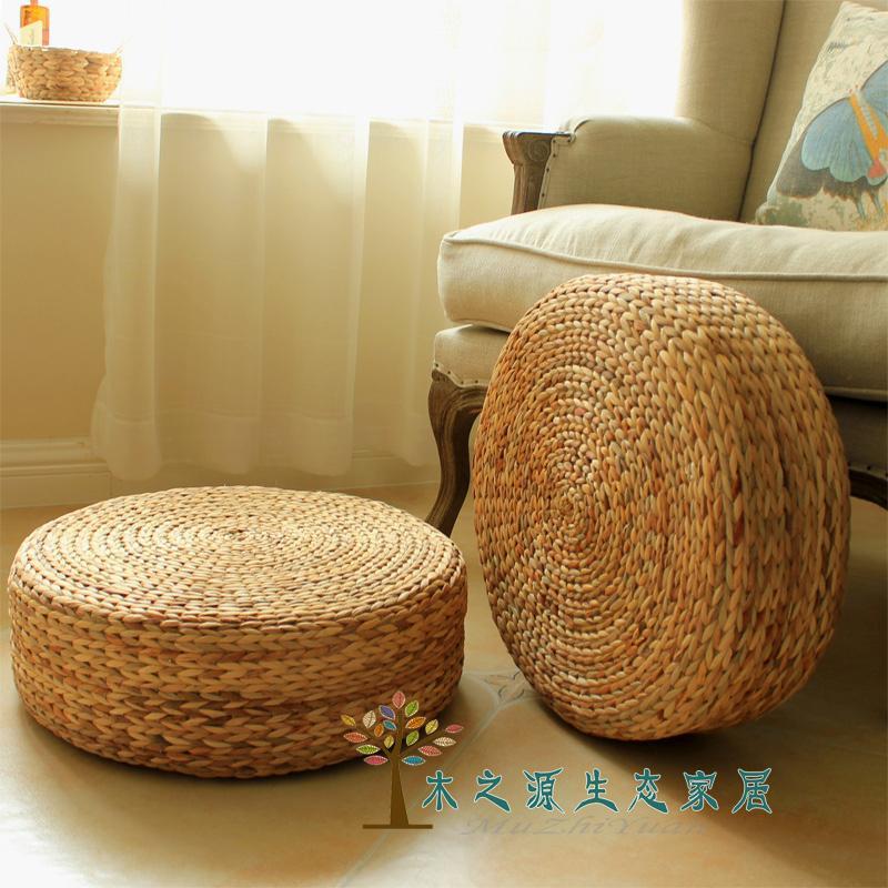 Handmade Weave Gourd Grass Futon Genuflect Pad Tatami Heightening Floor Stool Yoga Meditation Bay Window round throw pillow