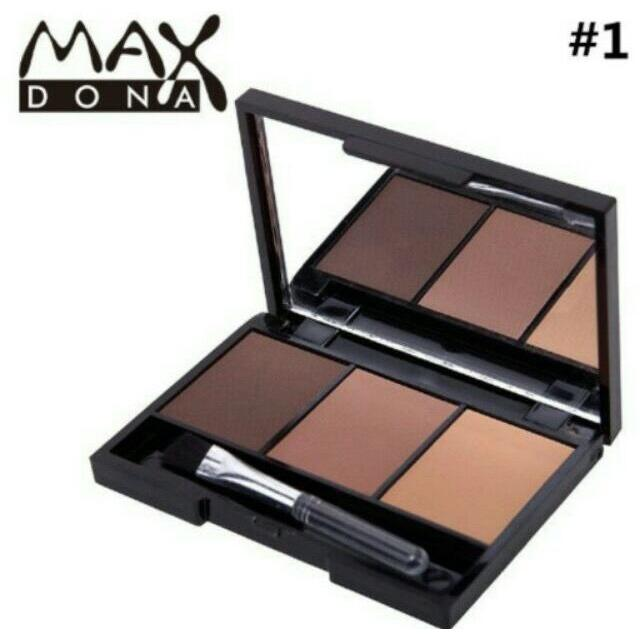 Maxdona 3 Color Eyebrow Powder Palette Cosmetic Makeup Shading Brush Mirror Box Brow #1 Philippines