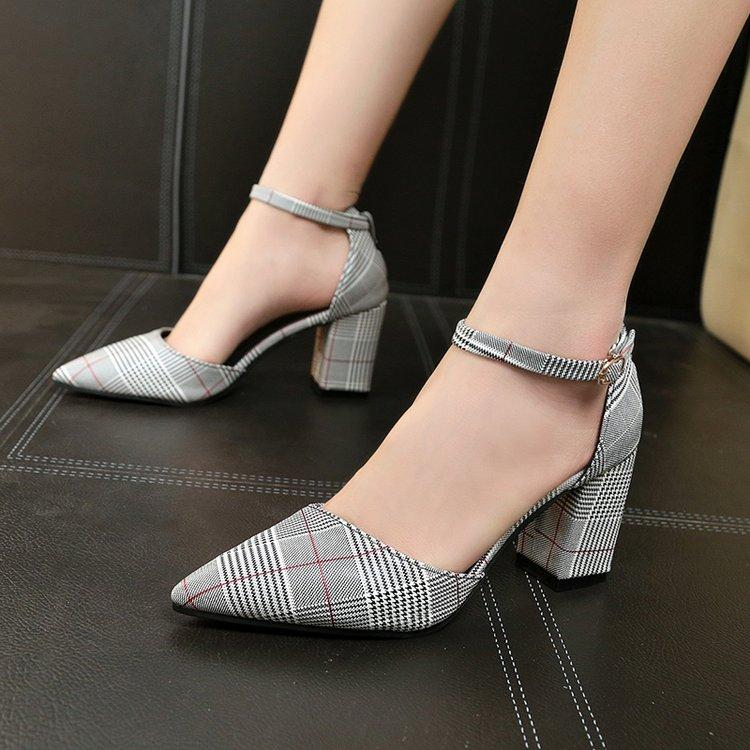 Hipster Womens Sandals Plaid New Style Womens Shoes Versatile Korean-Style Bag Head A-Line With Semi-High Heeled Block Heel High Heel Shoes Zi Xia By Taobao Collection.